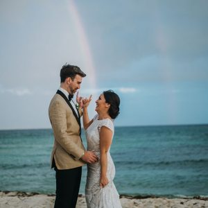 Couple under the rainbow